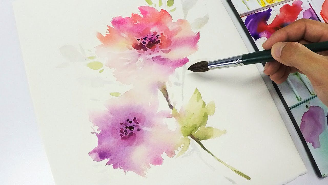 Lvl3 Watercolor Flower Painting Wet Into Wet Youtube