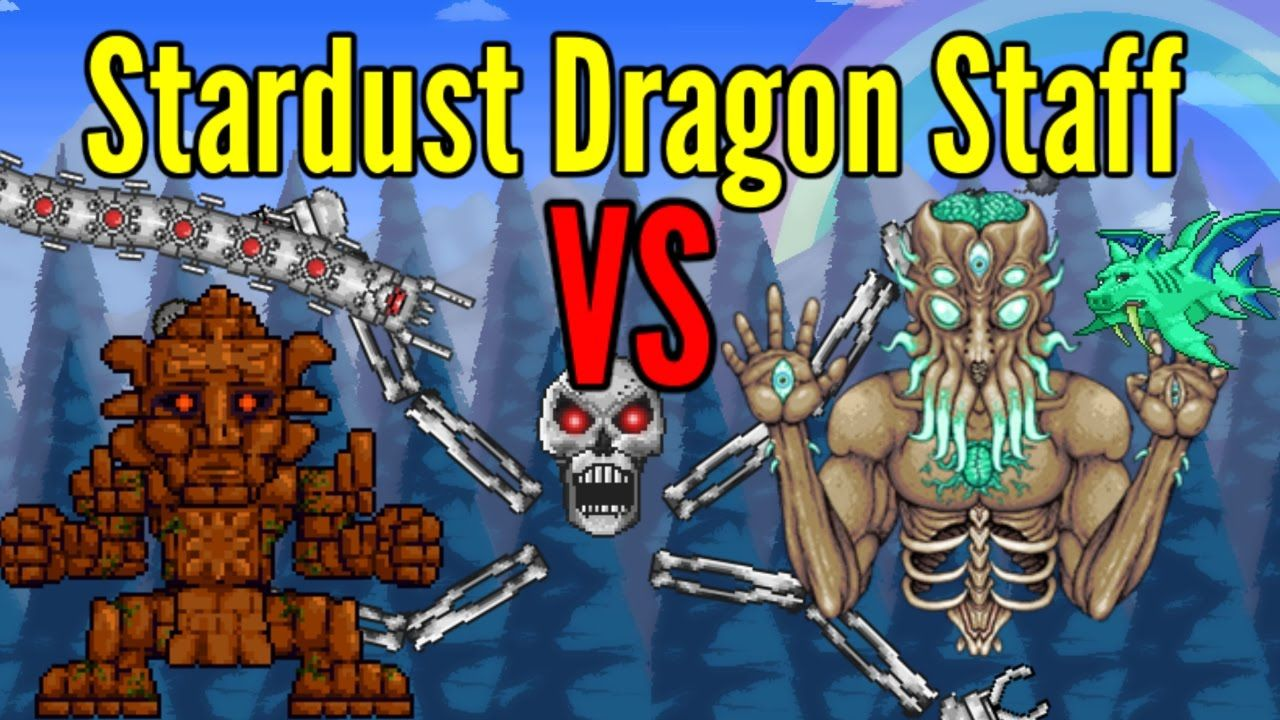 Terraria Stardust Dragon Staff Vs All Bosses Including Ragnarok Dragon Staff Stardust Dragon