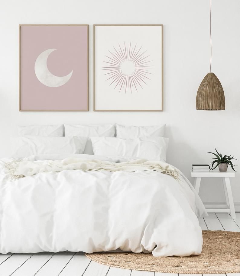 Sun and Moon Art Print Wall Decor Set of 2, Mid Ce
