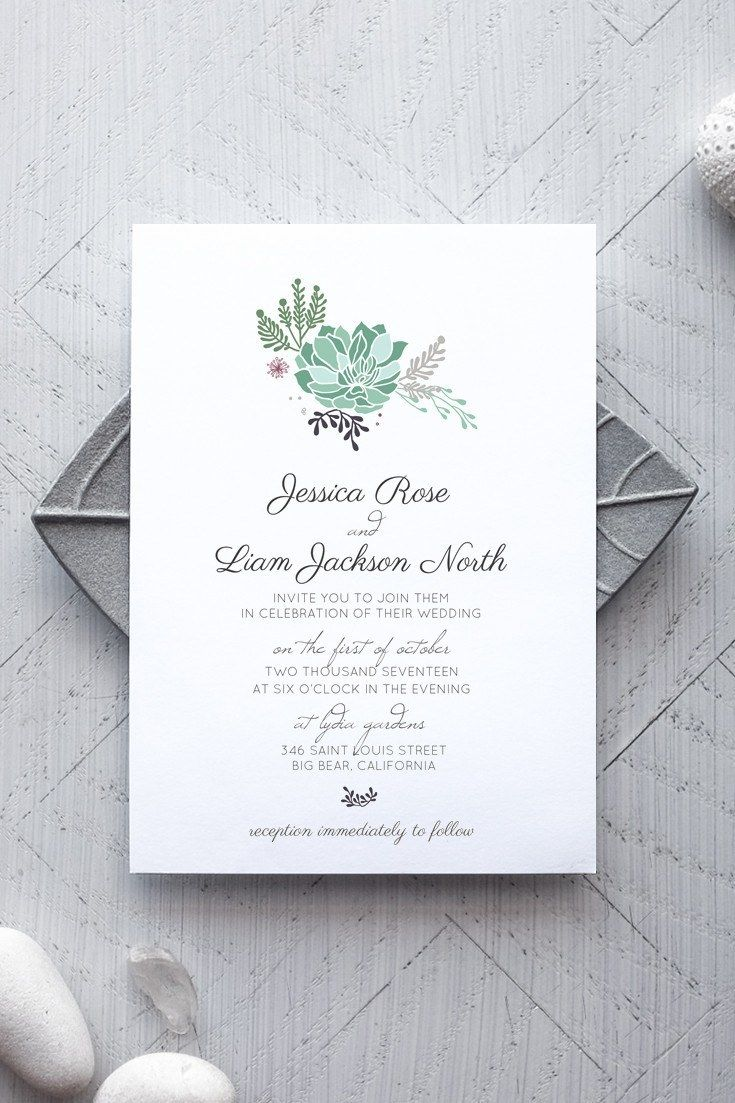 Succulent Printable Wedding Invitation | Invitation templates ...