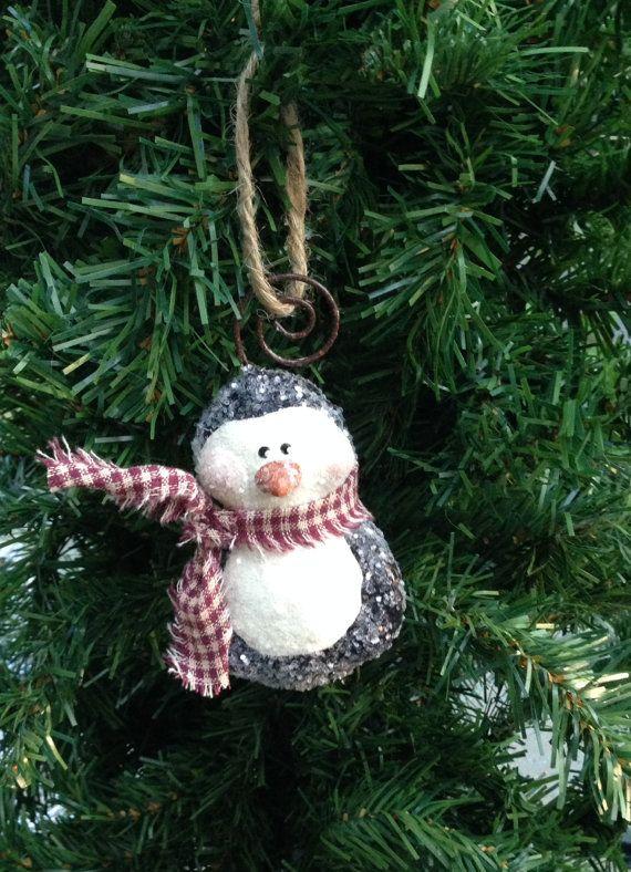 Glittered Penguin Ornament by SnowflakesToSnowmen on Etsy