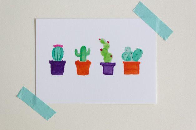 Cactus postcard - ein Designerstück von sam-and-suzy bei DaWanda