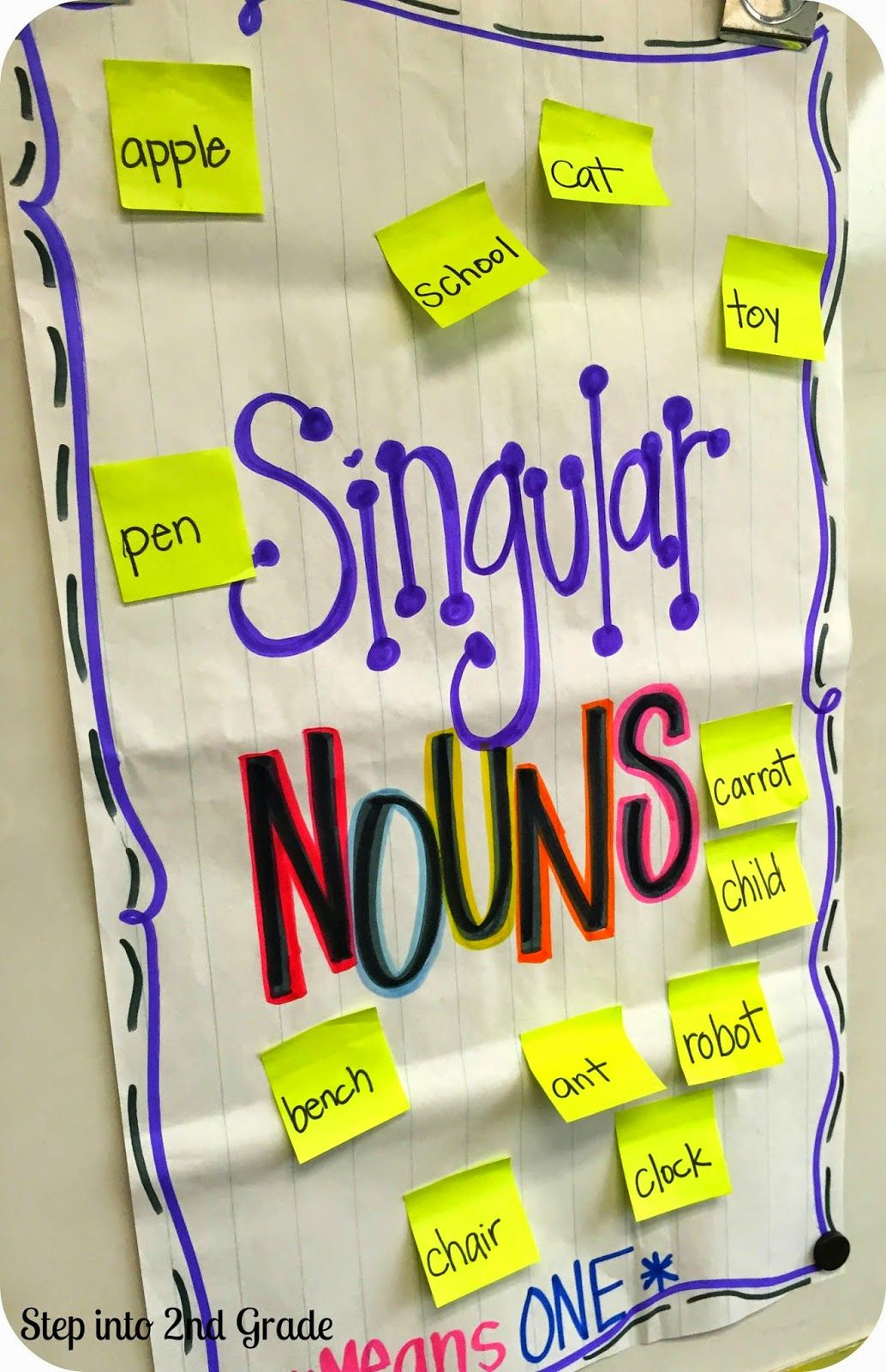 Hands On Anchor Charts Singular And Plural Nouns Pass Out Sticky Notes Have Kids Read And