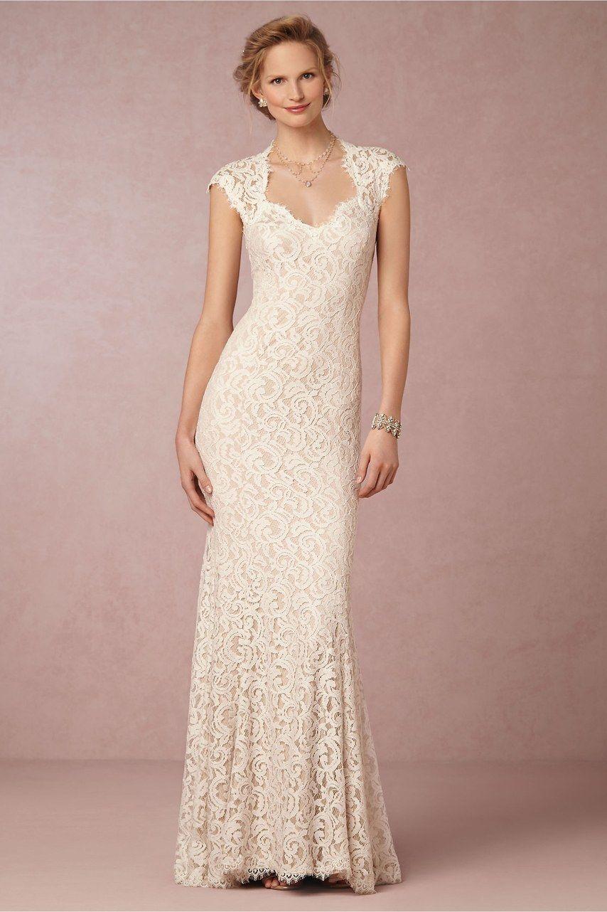 'Marivana' lace gown, $650, Tadashi Soji available at BHLDN Courtesy of BHLDN/From Brides  via @AOL_Lifestyle Read more: https://www.aol.com/article/lifestyle/2017/03/07/40-wedding-dresses-under-1000/21875647/?a_dgi=aolshare_pinterest#fullscreen