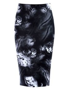 Access Black And White Smoky Floral Body Con Midi Skirt
