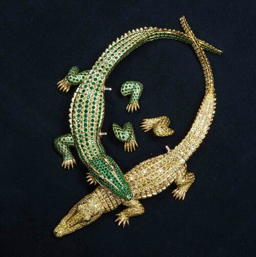 One of two crocodile necklaces commissioned by the Mexican diva María Félix that are now part of The Cartier Collection. Both will be on display at the Grand Palais in Paris this winter.