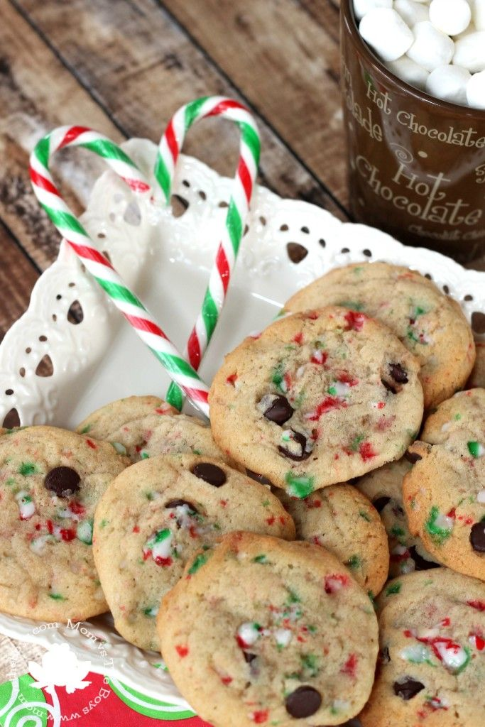 Try these chocolate chip candy cane cookies this Christmas