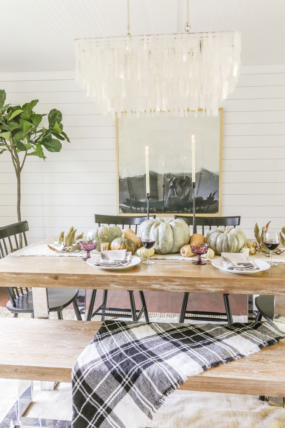 Simple And Affordable Thanksgiving Tablescape With Video Tutorial Modern Farmhouse Fall Modern Farmhouse Dining Room Farmhouse Style Dining Room Modern Farmhouse Dining