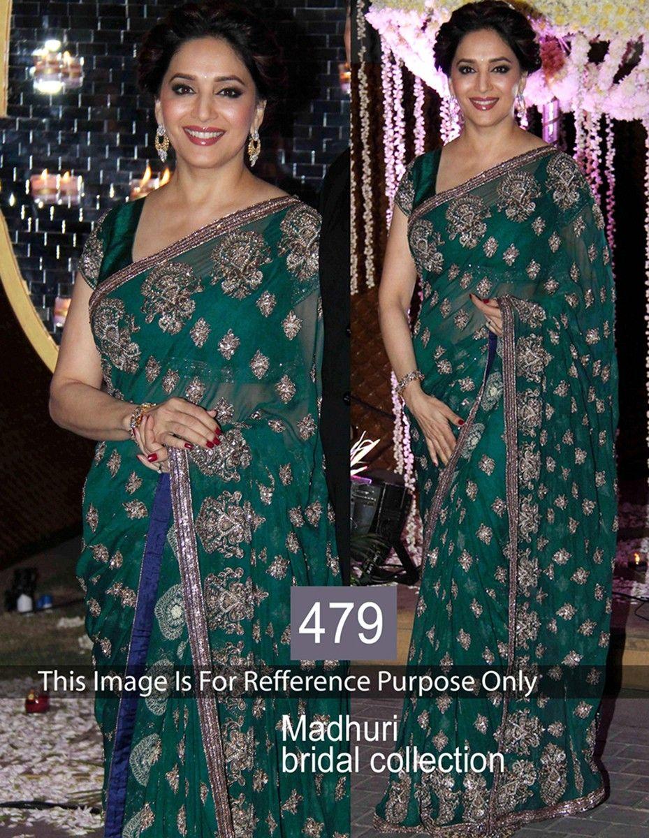 Net saree images net machine work green bollywood designer saree  bs  madhuri