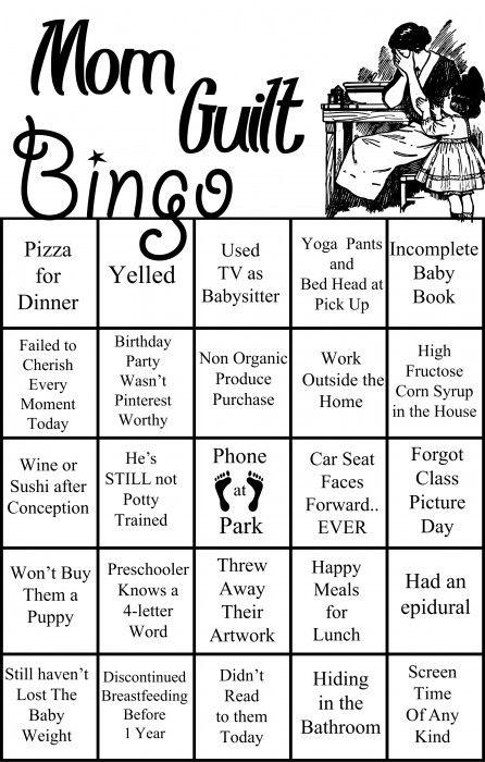 mom guilt bingo parenting mom humor games for moms moms 39 night out. Black Bedroom Furniture Sets. Home Design Ideas