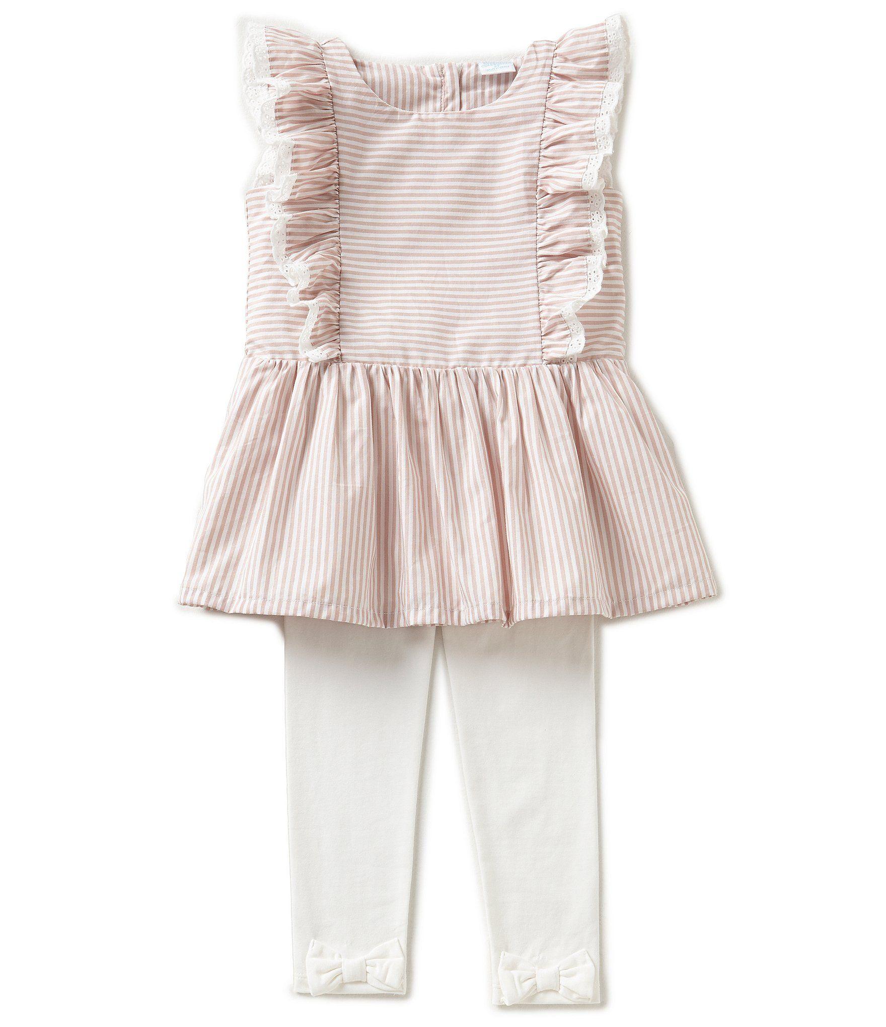 2fcc58d9010 Edgehill Collection Little Girls 2T-4T Striped Flutter-Sleeve Top   Bow  Leggings Set