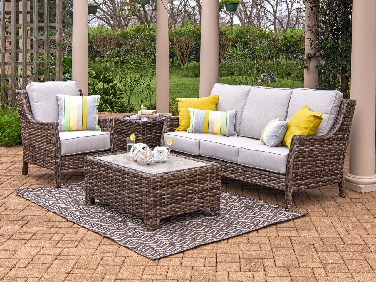 Living Room Cabo Caribou Outdoor Wicker And Idol Seagull Cushion 3 Pc Sofa Group With 40 X 28 In Coffee Table 3729509 In 2020 Outdoor Wicker Outdoor Comfort Outdoor Furniture Sets
