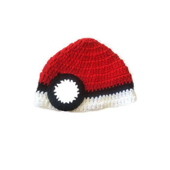 pokemon cap/pokemon ball/crochet baby hats/crochet hat/crochet ...