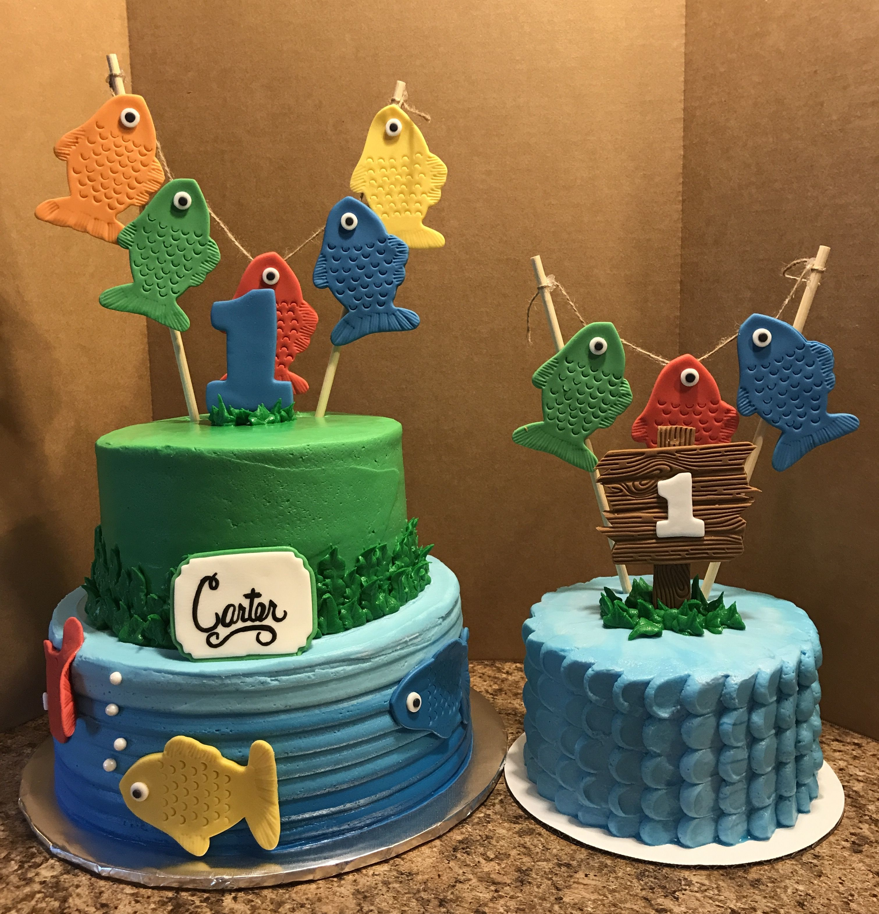 Tremendous Fish Birthday Cake With Images Fishing Themed Birthday Party Personalised Birthday Cards Veneteletsinfo