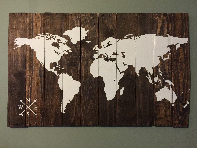 World map rustic wood map 24x38 mapas cuadro y rstico world map rustic wood map 24x38 gumiabroncs Gallery