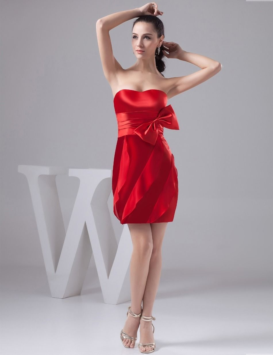 Cocomelody Short Mini Satin Red Party Dress   Excellent dresses for ...