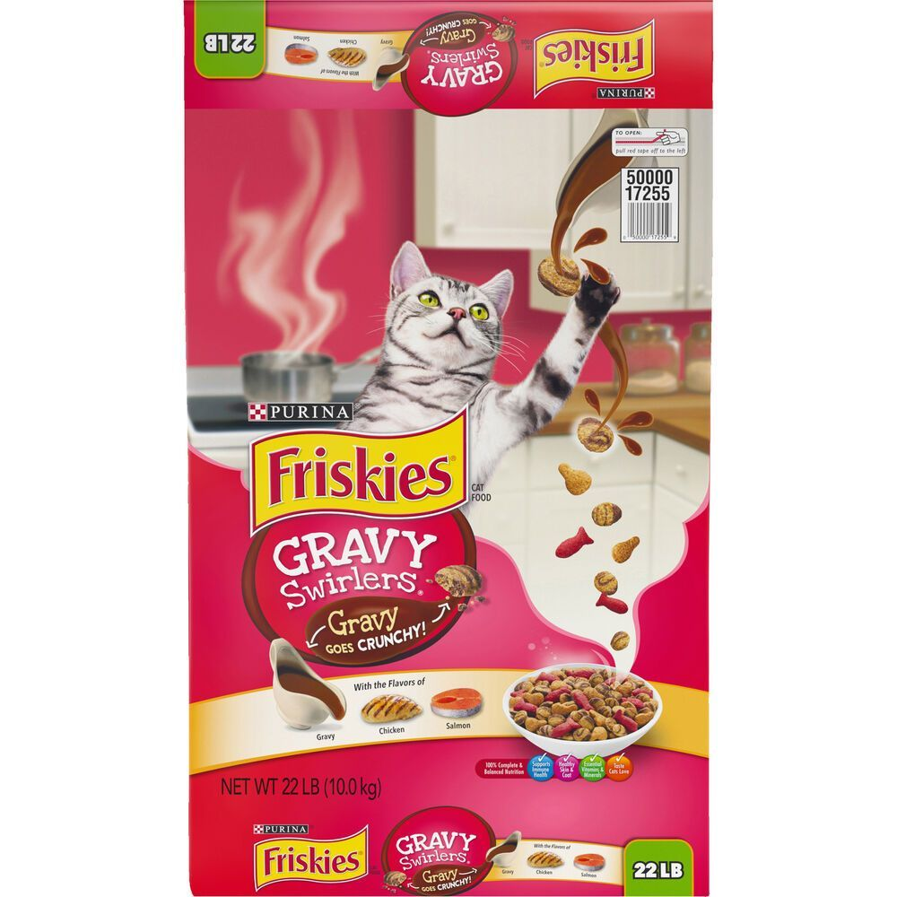 Cat food friskies gravy swirlers dry cat food 22 lb with