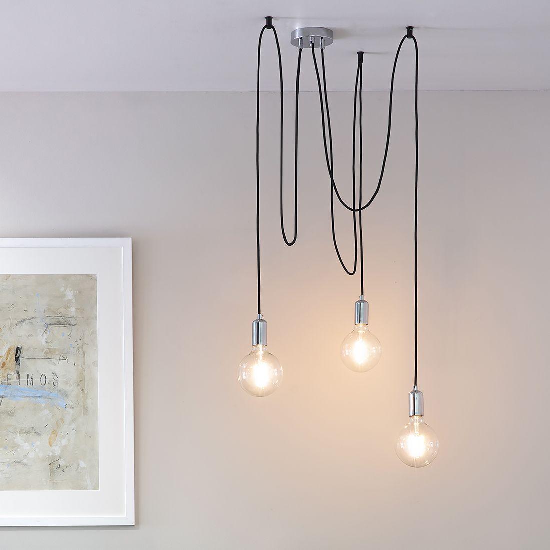 Cleo Three Bulb Industrial Pendant Light Copper Or Chrome Primrose Plum Industrial Pendant Lights Industrial Pendant Industrial Kitchen Lighting 3 bulb pendant light