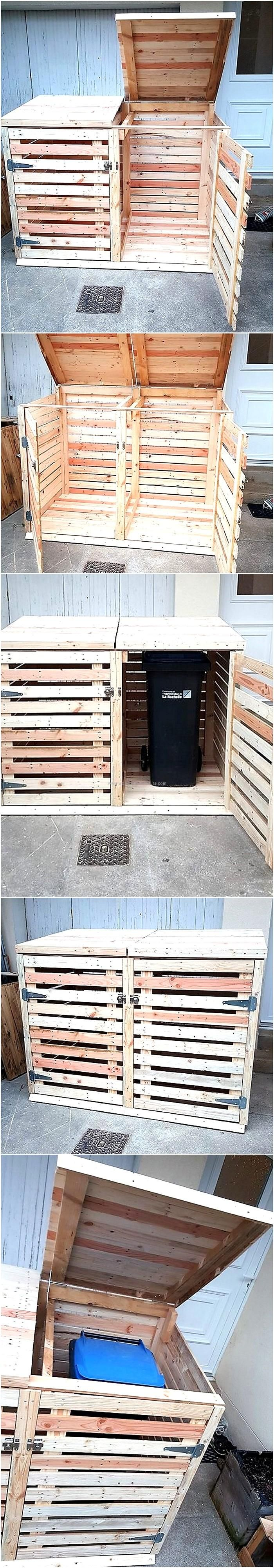 Repurposed Wood Pallet Trash Can Cover Box. Pallet CraftsDiy ...