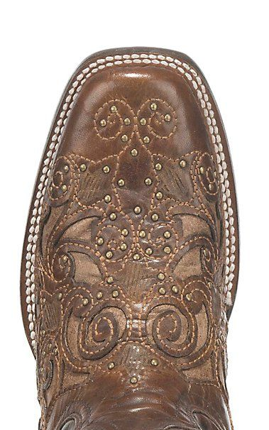 cae16db4962 Corral Boot Company Women's Brown with Tan Inlay and Studded Details ...