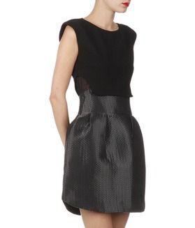 E Lamé Boutique Robe Avec Bi Jupe Matière Noir Rydaf Boule Maje 6pHT6nqw