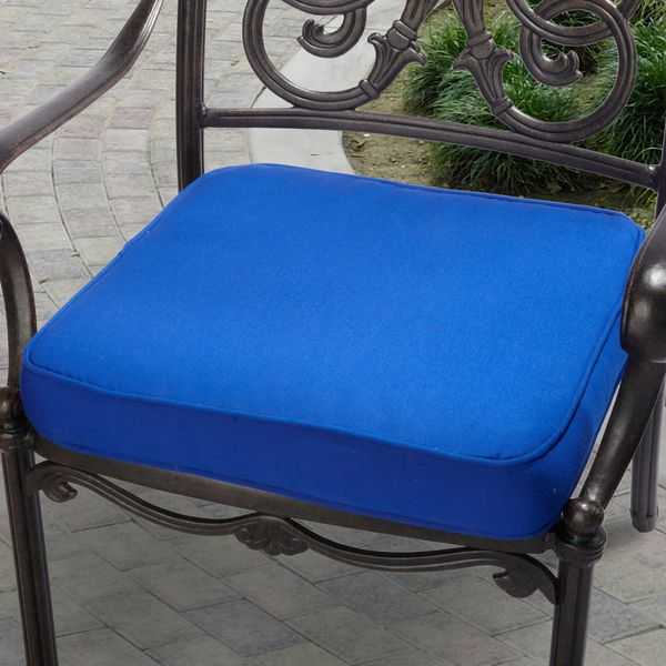 indoor outdoor 20 chair cushion with sunbrella fabric solid bright capri blue acrylic outdoor cushion