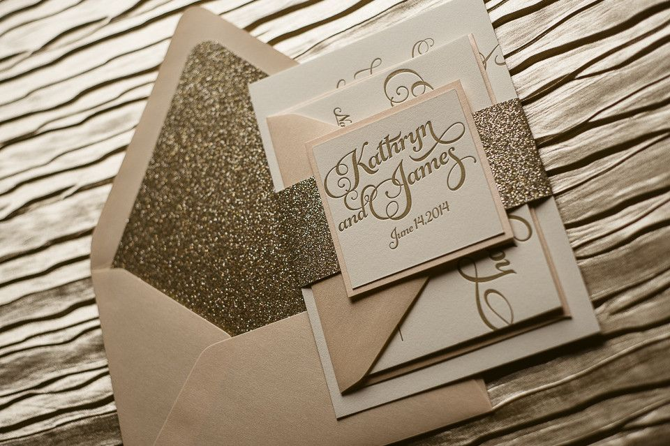 KATHRYN Suite Glitter Package | Glitter wedding invitations, Wedding ...