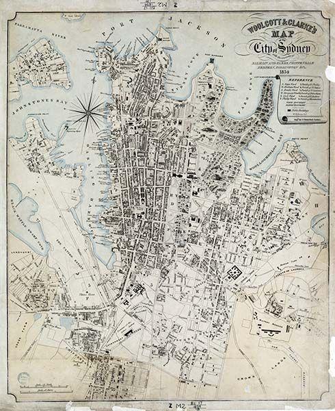 1854 Map Of Sydney A1 Or A2 Old Sydney Maps Sydney Map Old Map Vintage Maps
