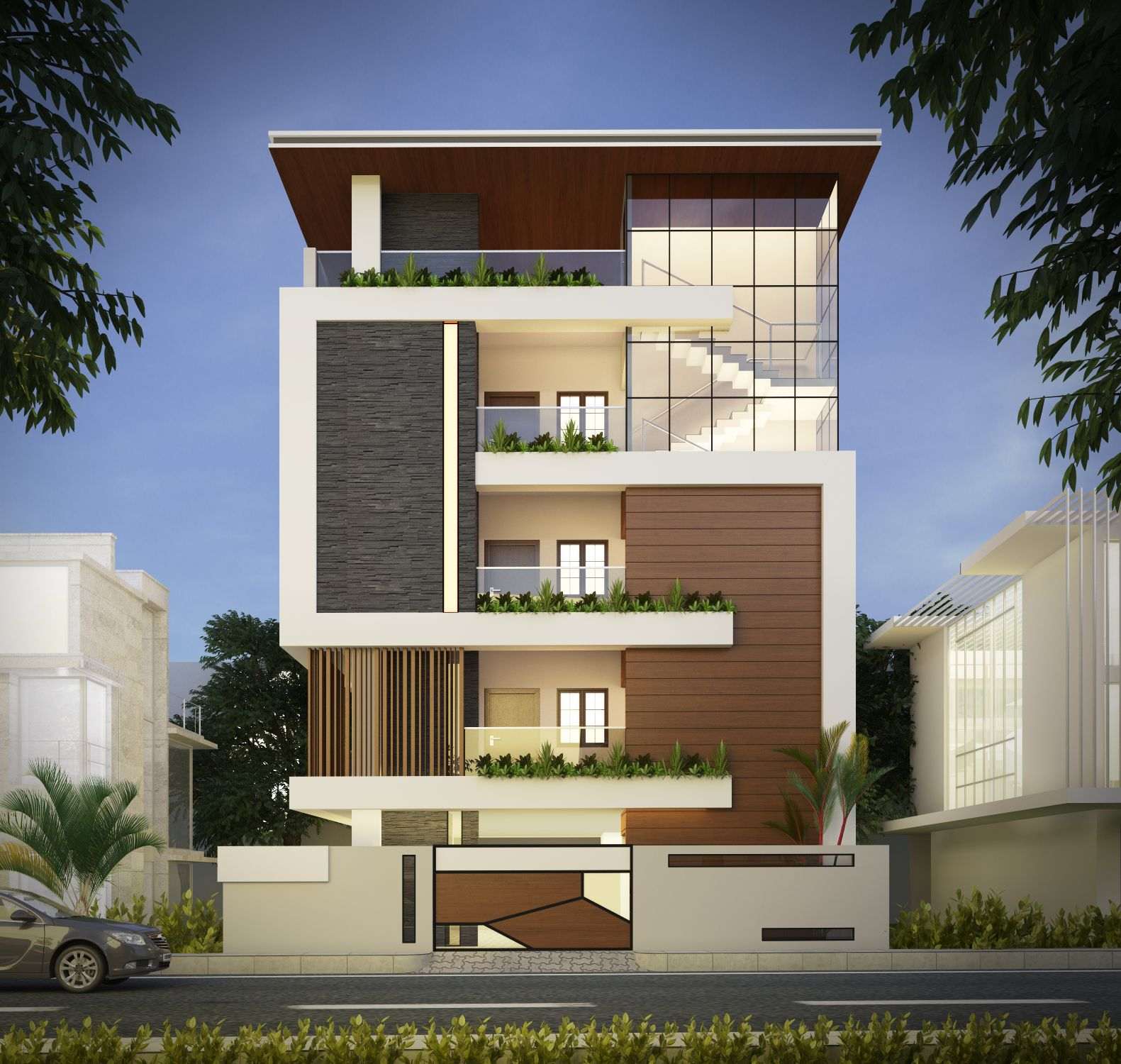 Contemporary Three Storied Residential Building