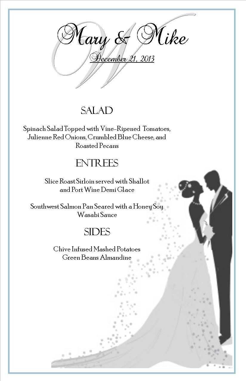 Our Wedding Packages Include Custom Menu Cards At Each Place Setting Here Is An Example