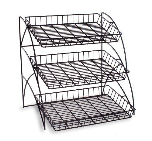 Tiered Wire Shelving Display Rack For Tabletop Use Black