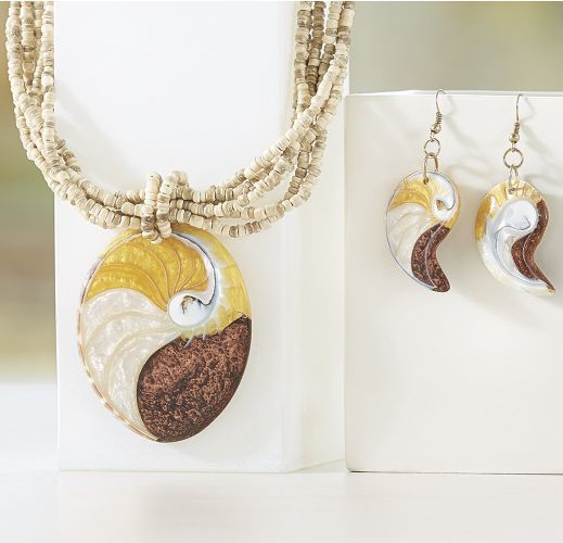 Natural Bead/Shell Necklace and Earring Set from Monroe and Main.   Enhance your look with this one-of-a-kind jewelry.