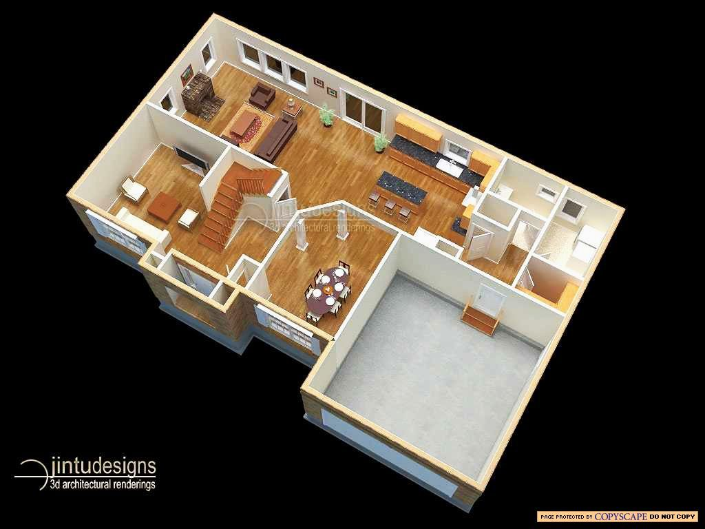 3d Floor Plan Quality Renderings Of 3d Floor Plans Floor Plans Garage House Plans Home Design Floor Plans