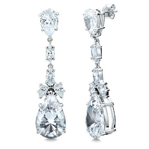 Sterling Silver 925 Pear Shaped Cubic Zirconia Cz Dangle Earrings Jewelry For Women
