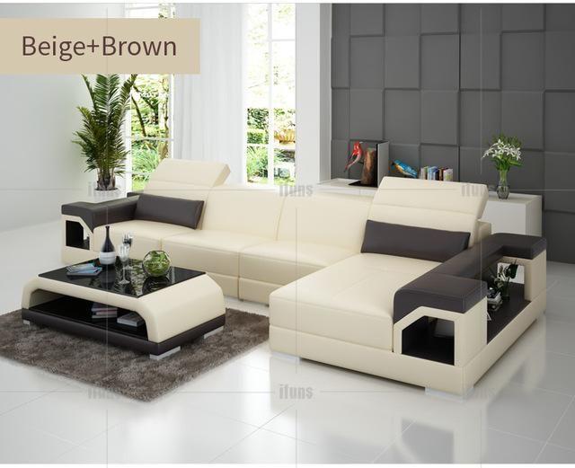 Ifuns Brillancy Orange Genuine Leather Corner Sofas Modern Design L Shape Recliner Floor Sofa Leather Corner Sofa Modern Sofa Living Room Living Room Furniture