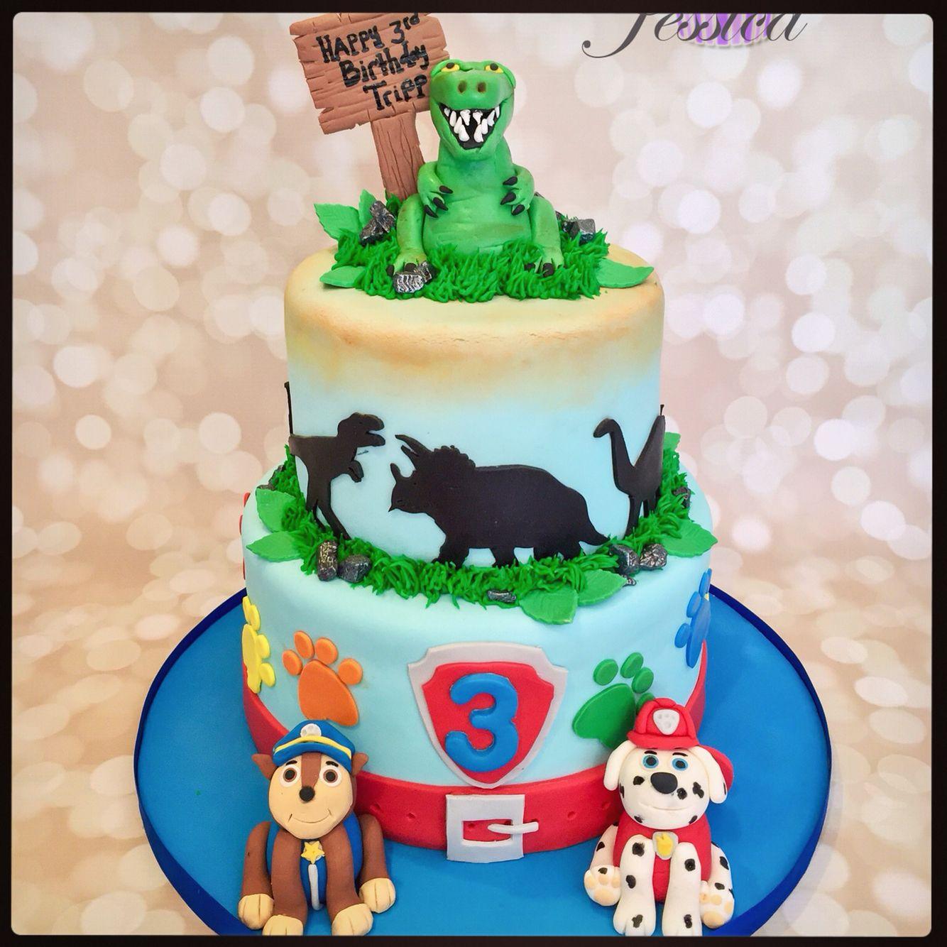 dinosaurs and paw patrol cake  paw patrol cake celebrate