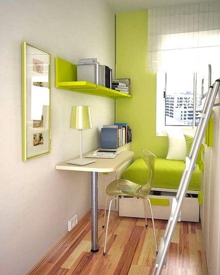 una habitacin pequea en verde - Amueblar Habitacion Pequea
