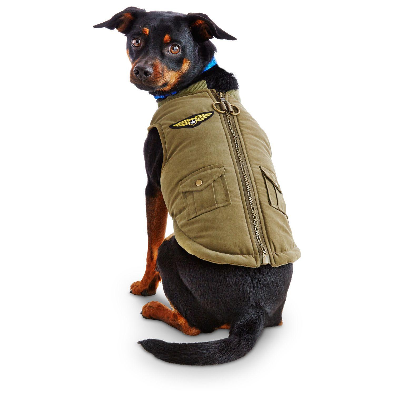 Petco Wag A Tude Olive Military Dog Bomber Jacket I Need A Medium