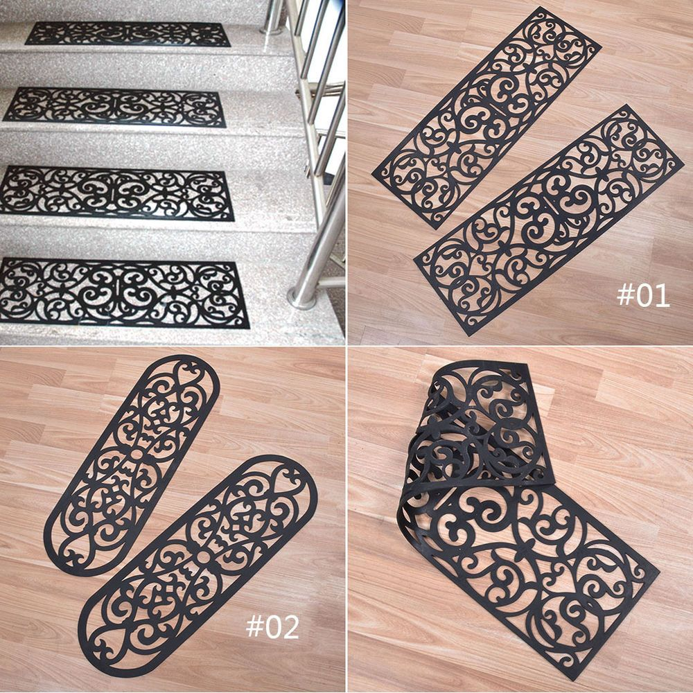 Best 1Pc Black Rubber Scroll Pattern Stair Treads Step Mat 640 x 480