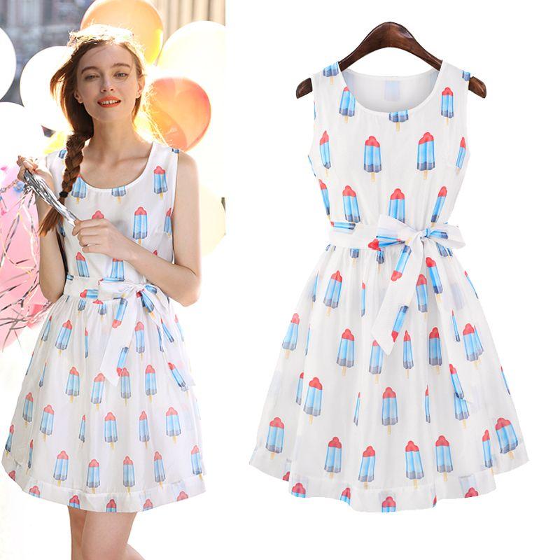 White Round Neck Sleeveless Popsicle Print Belt Dress