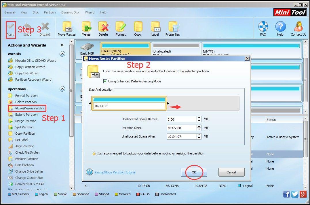 enlarge RAID partition
