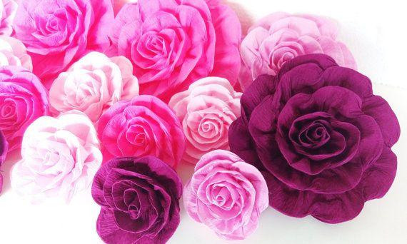 Burgundy Marsala Pink Gold Large Paper Flowers Wall Decor Wedding