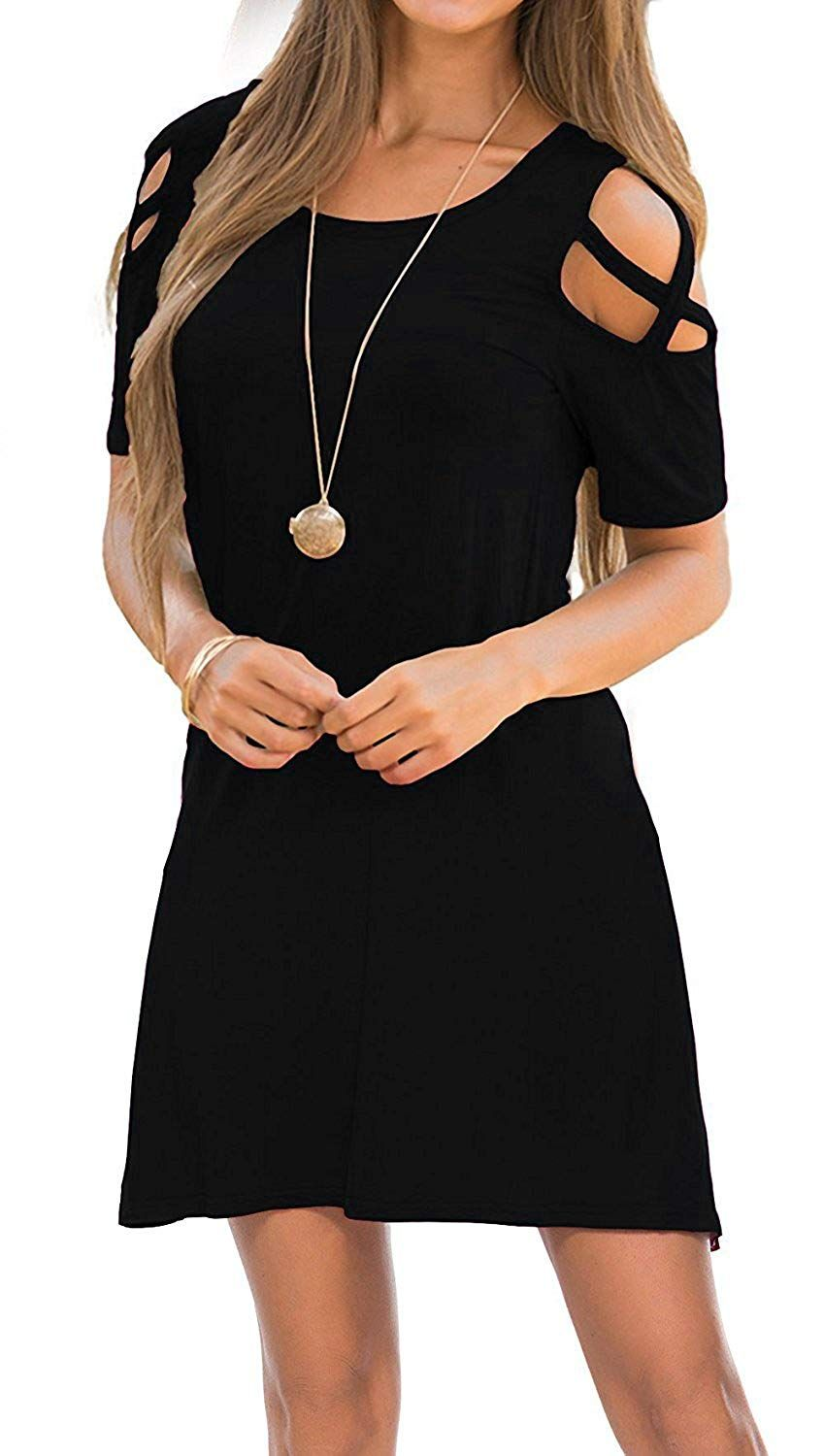 Womens dresses cold shoulder round neck loose tunic casual t shirt
