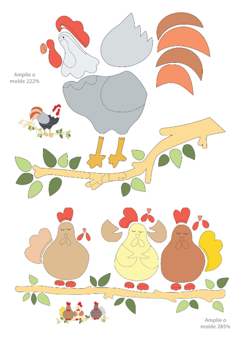 Rooster and chickens appliqué pattern. More patterns available on website for cute appliquéd apron.