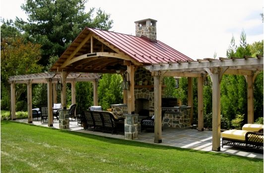 Backyard Structure outdoor kitchen with outdoor structure shielding bad weather. i
