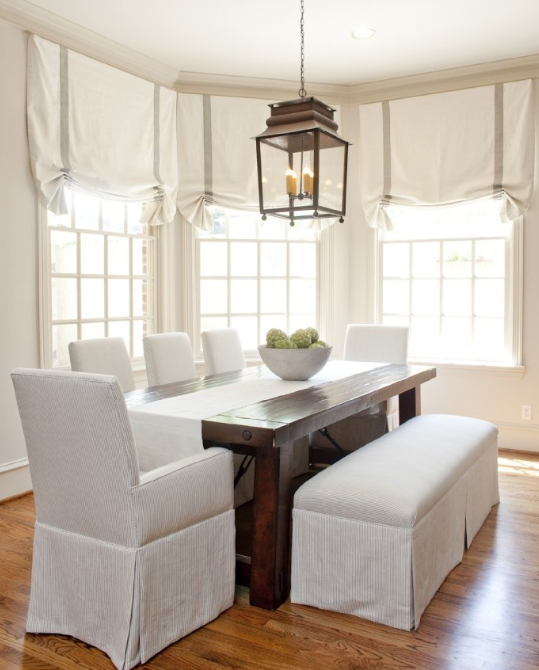 Superieur Dining By Munger Interiors. Light Linen Chairs And Bench, Farmhouse Table,oversized  Lantern