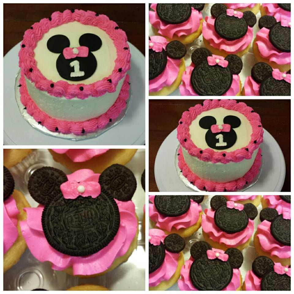 Miraculous 1St Birthday Minnie Mouse Smash Cake And Minnie Mouse Cupcakes Funny Birthday Cards Online Unhofree Goldxyz