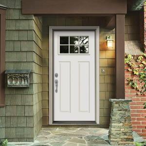 Jeld Wen Premium 6 Lite Craftsman Primed White Steel Entry Door With Brickmold N32867 At The Home D Steel Doors Exterior Exterior Doors Jeld Wen Exterior Doors