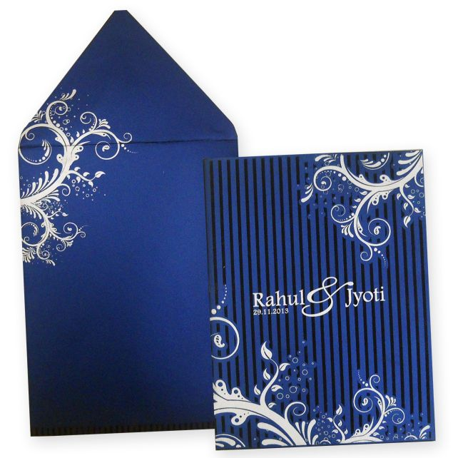 Amazing Indian Wedding Card with Raised Silver Color Printing