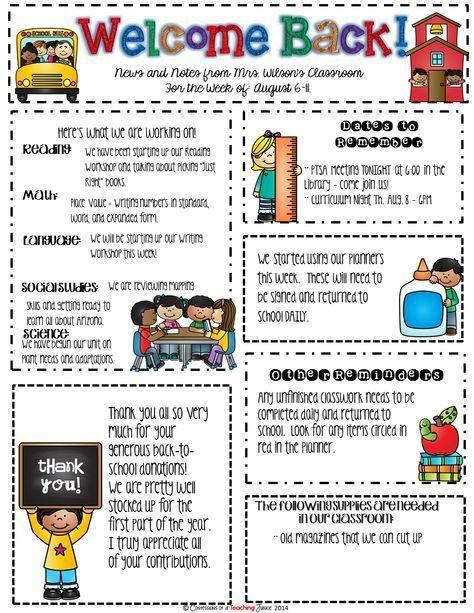 Seasonal Classroom Newsletter Templates for Busy Teachers Music